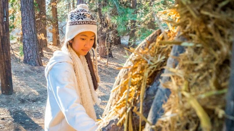 Girl works on building shelter in woods
