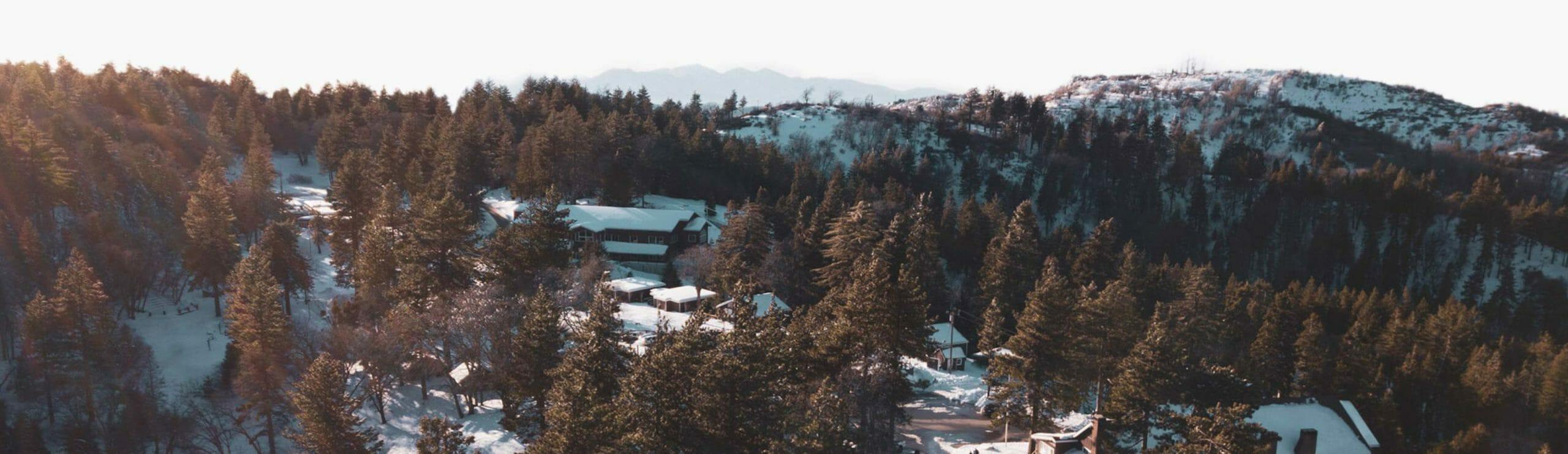 Aerial of Pali Institute in winter