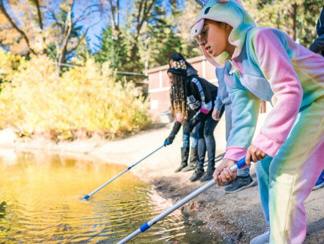 Student in unicorn onesie stands with group to catch frogs in pond